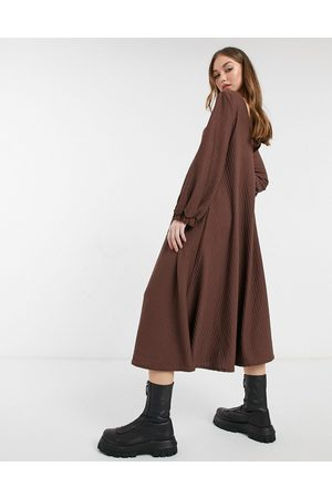 ASOS Textured smock midi dress with v neck in chocolate brown