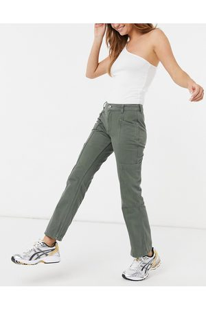 ASOS Low rise utility flare in khaki-Green