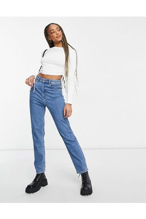 ASOS High rise farleigh 'slim' mom jeans in midwash-Blue