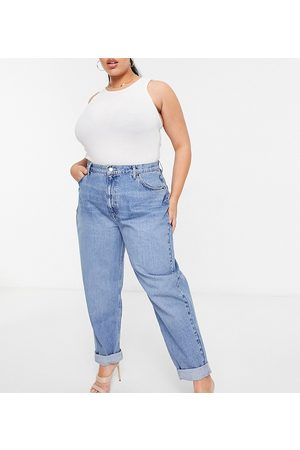 ASOS ASOS DESIGN Curve high rise 'slouchy' mom jean in midwash-Blue