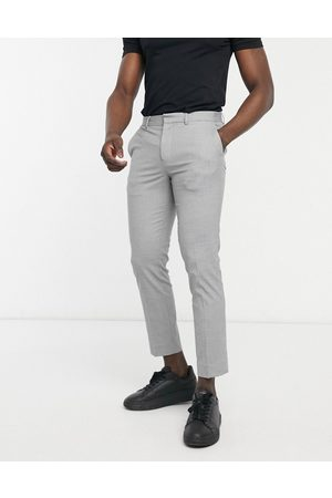 Burton Carrot fit smart trousers in grey dogtooth-Black