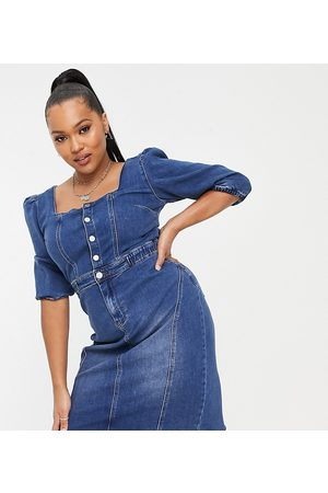 Simply Be Denim midi dress with square neck in blue