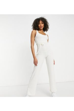 AsYou Ženy Overaly dlouhé - Lounge tie waist detail jumpsuit in cream