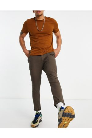 ASOS Muži Chino - Super skinny cropped chinos in brown