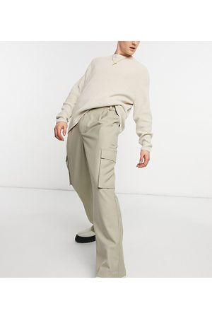 COLLUSION 90's fit baggy trousers in stone twill-Neutral