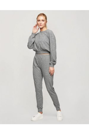 Miss Selfridge Brushed rib joggers in grey