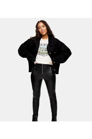 Topshop Faux leather biker trousers in black