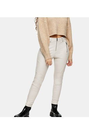 Topshop Faux leather biker trousers in cream