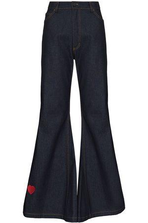 Natasha Zinko Heart-embroidery flared jeans