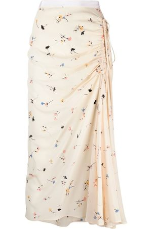 Nº21 Ruched floral-print skirt