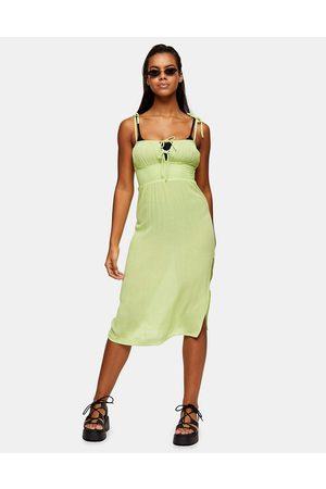 Topshop Ženy Midi - Ruche front midi beach dress in lime-Green