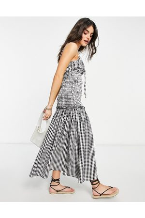 ASOS Ženy Midi - Ruched bust cami midi sundress with shirred waist in cotton poplin in gingham-Multi