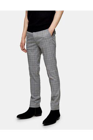 Topman Muži Chino - Skinny windowpane check trousers in grey