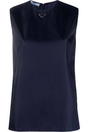 Prada Ženy Se širokými ramínky - Logo plaque sleeveless top