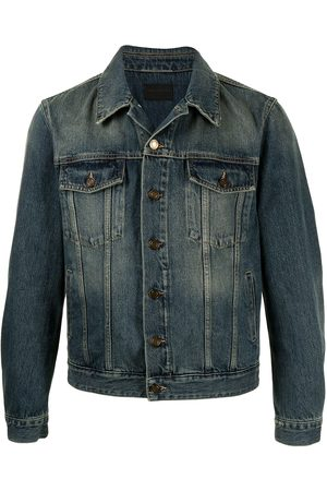 Saint Laurent Muži Džínové bundy - Faded-effect denim jacket