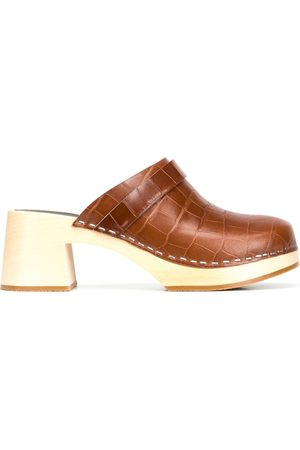 Swedish Hasbeens Crocodile-effect leather clogs