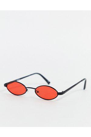 ASOS Muži Sluneční brýle - 90s mini oval glasses in black with red lens