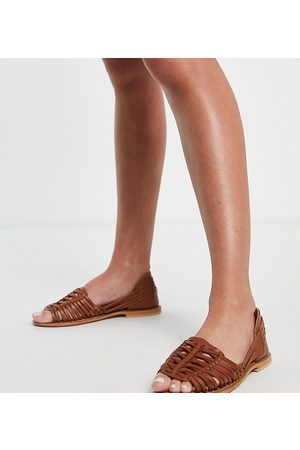 ASOS Wide Fit Florentine woven leather sandals in tan-Brown