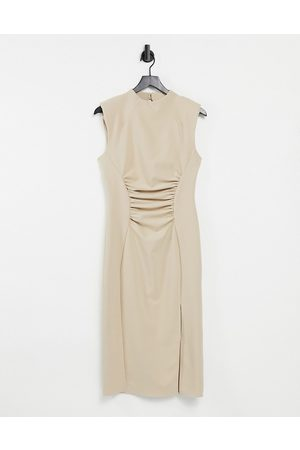 ASOS High neck pencil midi dress with gathered waist and cap sleeve in soft camel-Neutral