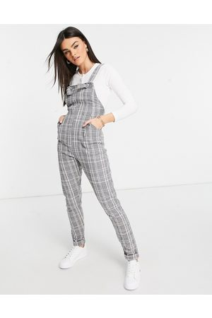ASOS Ženy Overaly dlouhé - Jersey casual dungaree in grey check boucle-Multi