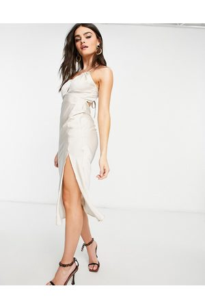 ASOS Ruched slip dress with halter strap and open back detail in oyster-Grey