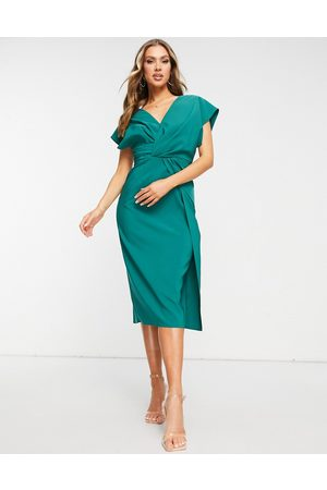 ASOS Twist and drape front midi pencil dress in forest green