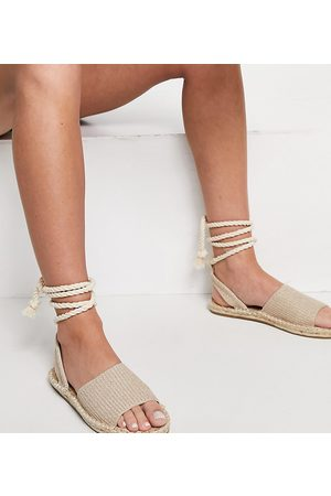 ASOS Ženy Espadrilky - Wide Fit June rope tie espadrilles sandals in natural fabrication-Neutral