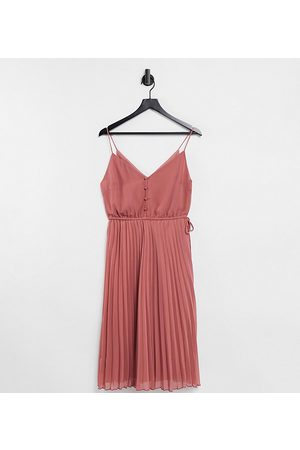 ASOS ASOS DESIGN Petite button front pleated cami midi dress with drawstring waist in pink