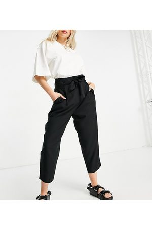 ASOS Ženy Společenské - ASOS DESIGN Petite tailored tie waist tapered ankle grazer trousers-Black