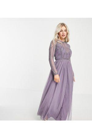 ASOS Ženy Maxi - ASOS DESIGN Petite embellished bodice maxi dress with tulle skirt in lilac-Purple