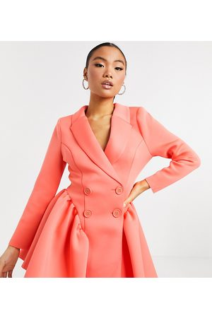 ASOS ASOS DESIGN Petite exclusive mini tux dress with ruched side pep in bright coral-Pink