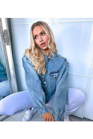 Missguided Ženy Džínové bundy - Denim jacket with balloon sleeve in washed blue