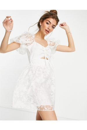 Topshop Organza dress with cutout detail in white