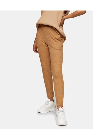 Topshop Fluffy joggers in caramel-Brown