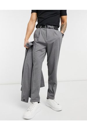 SELECTED Muži Společenské - Jersey suit trousers in tapered crop fit grey