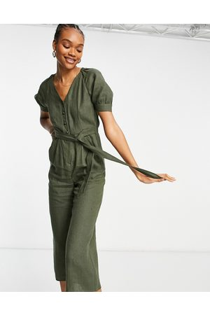 Whistles Ženy Overaly dlouhé - Nora linen jumpsuit in green