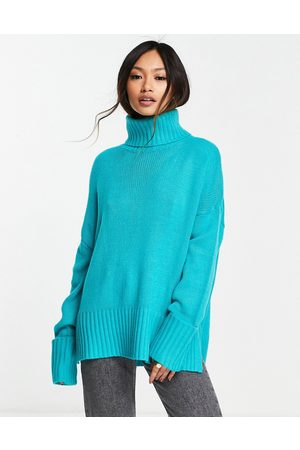 M Lounge Ženy Ke krku - High neck jumper with turn up cuffs co-ord-Green