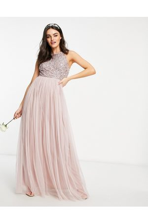 Maya Bridesmaid halter neck delicate sequin maxi dress in frosted pink