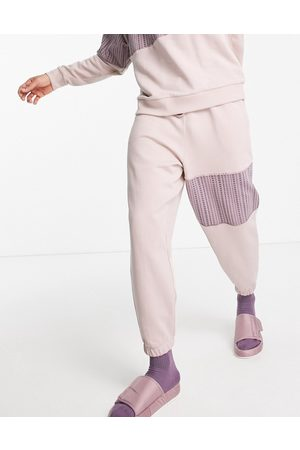 ASOS Muži Tepláky - Co-ord oversized joggers with numerals monogram panel in dusty pink