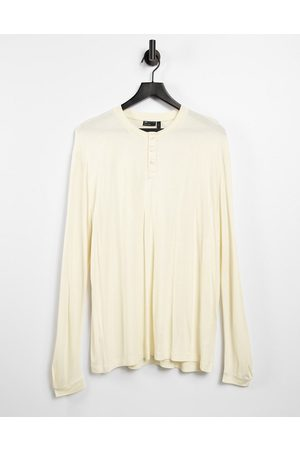 ASOS Relaxed fit long sleeve viscose grandad t-shirt in beige-Neutral