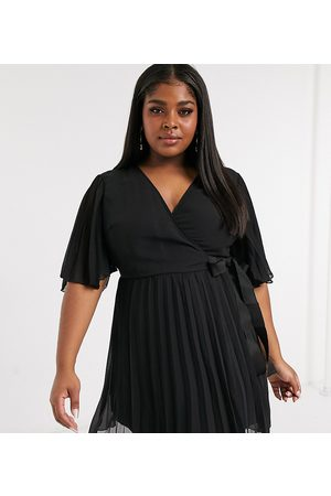 ASOS Ženy Na párty - Curve exclusive mini dress with kimono sleeve and tie waist in pleat in Black