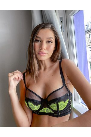 ASOS Fuller Bust Mathilde neon lace & contrast mesh underwire bra with corsetry detailing-Multi