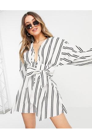 ASOS Button front tie playsuit in stripe-Multi