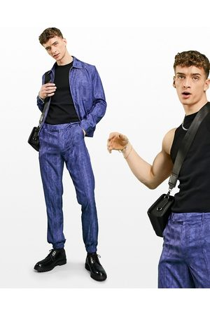 ASOS Smart slim jogger with blue abstract print
