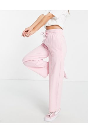 ASOS Co-ord straight leg jogger with deep waistband and pintuck in organic cotton in baby pink