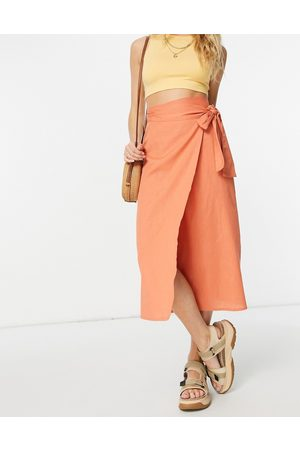 ASOS Wrap midaxi skirt with wrap around tie detail terracotta-Pink