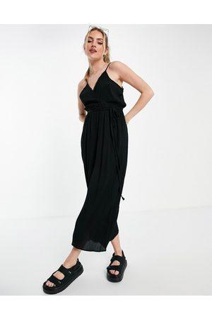 ASOS Wrap front cami culotte trim jumpsuit in black
