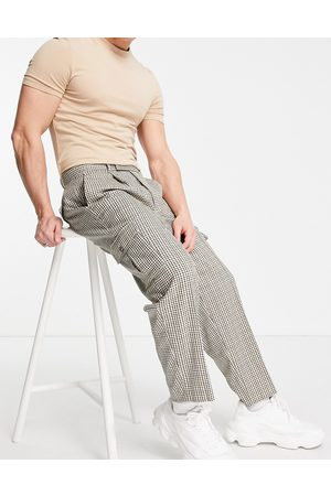 ASOS Oversized tapered cargo smart trouser in beige check-Neutral