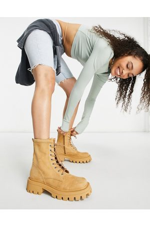 ASOS DESIGN Ženy Šněrovací - Avid extreme square toe lace up boots in beige-Neutral