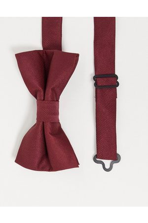 ASOS Satin bow tie in burgundy-Red